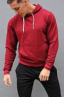 Бордовая мужская толстовка (худи с капюшоном, кофта, кенгурушка)