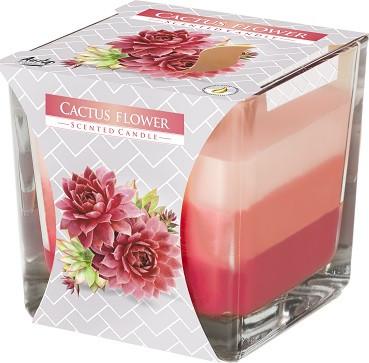 Свеча ароматизированная трехцветная цветок кактуса Bispol 8 см (snk80-312)