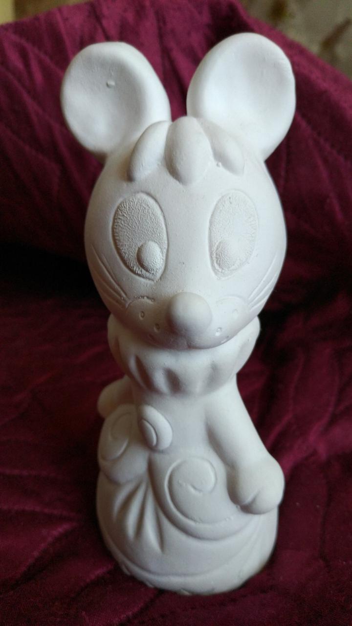Гіпсова фігурка для розмальовки. Гипсовая фигурка для раскраски. Мишка-дівчинка. 15.5 см
