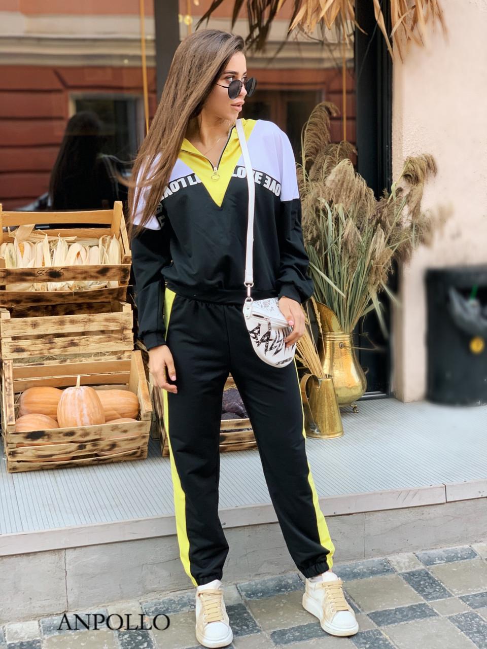 Женский спортивный костюм со свободным худи и штанами на манжетах 17so809