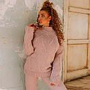 Вязаный теплый брючный костюм с шерстью и свитером в узор 18ks320, фото 6