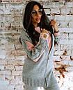 Вязаный женский теплый костюм с шерстью и кофтой на молнии 18ks322, фото 2
