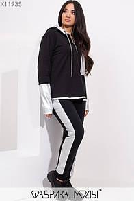 Женский спортивный костюм в больших размерах с худи и вставками экокожи 1ba339