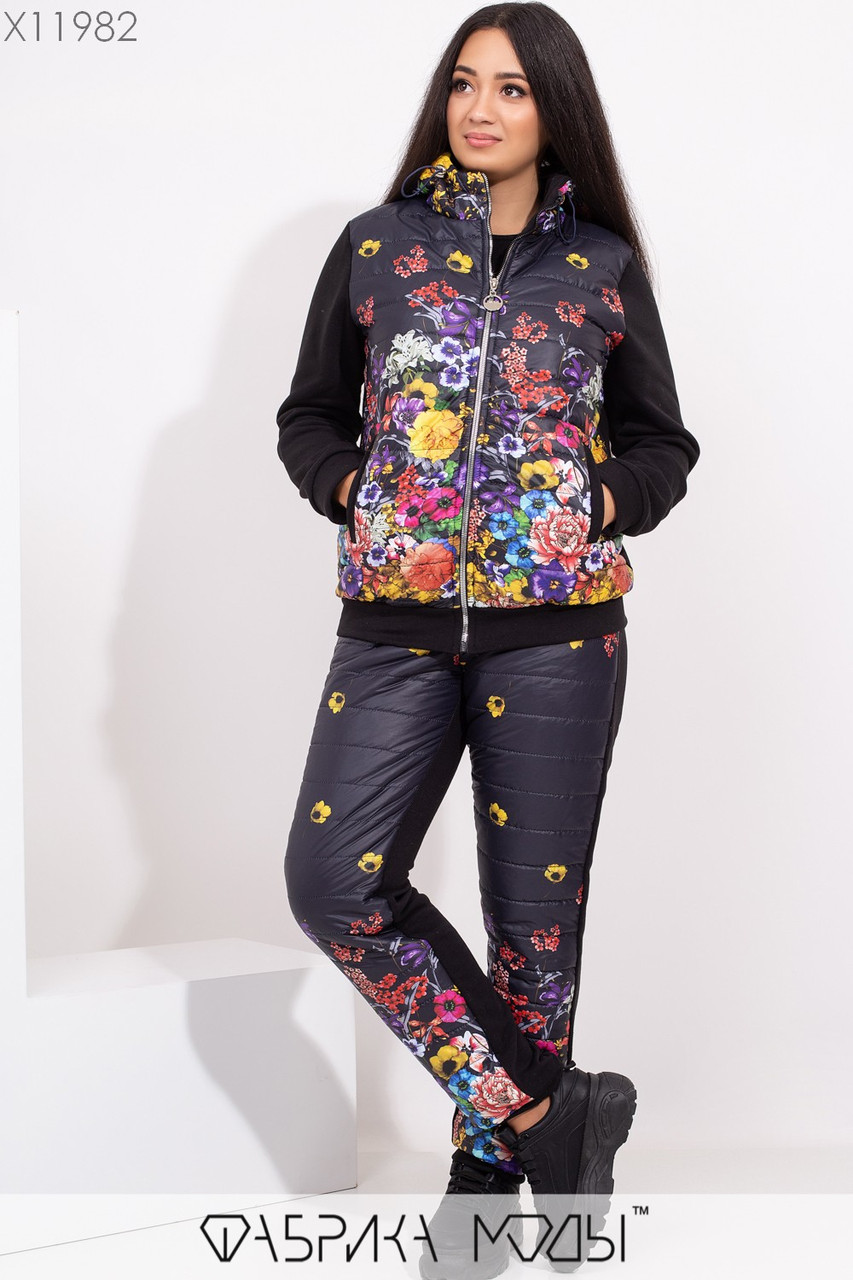 Принтованный женский зимний костюм в больших размерах с курткой и штанами 1ba351