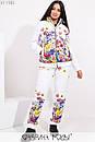 Принтованный женский зимний костюм в больших размерах с курткой и штанами 1ba351, фото 2
