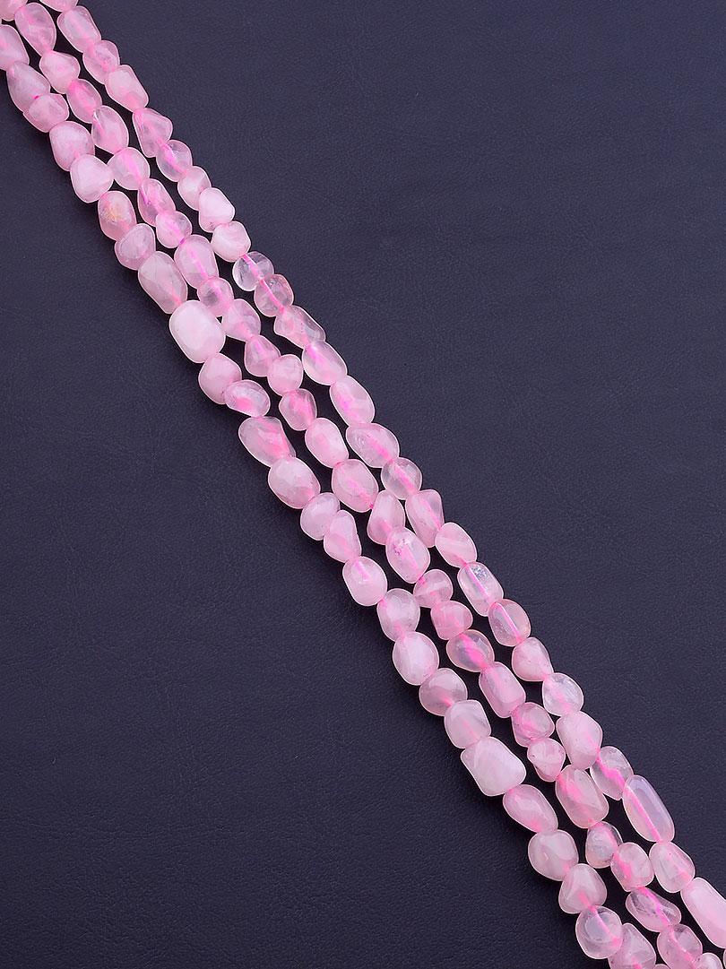 Нитка Розовый кварц 38 см. (Без замка)