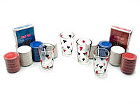Покерный набор с рюмками (2 колоды карт,200 фишек,4 рюмки)(29х22х5 см)(pg42200)