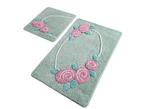 Набор ковриков  для ванной комнаты ALESSIA набор (2 предмета). Зеленый с розами