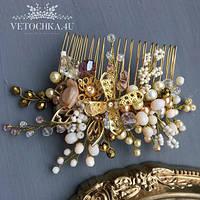 Свадебный гребешок невесты золотого цвета с цветами, украшение для волос