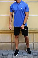 Мужской летний комплект шорты и футболка поло Adidas (Адидас)