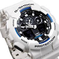 Часы наручные мужские Casio G-Shock GA100B-7A белого цвета 100% оригинал
