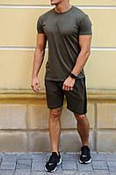 Мужские шорты цвета хаки с черными лампасами летние  / Спортивные костюмы на лето