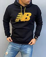 Теплая черная мужская толстовка New Balance (Нью Бэлэнс), худи с капюшоном, кофта, кенгурушка / ОСЕНЬ-ЗИМА
