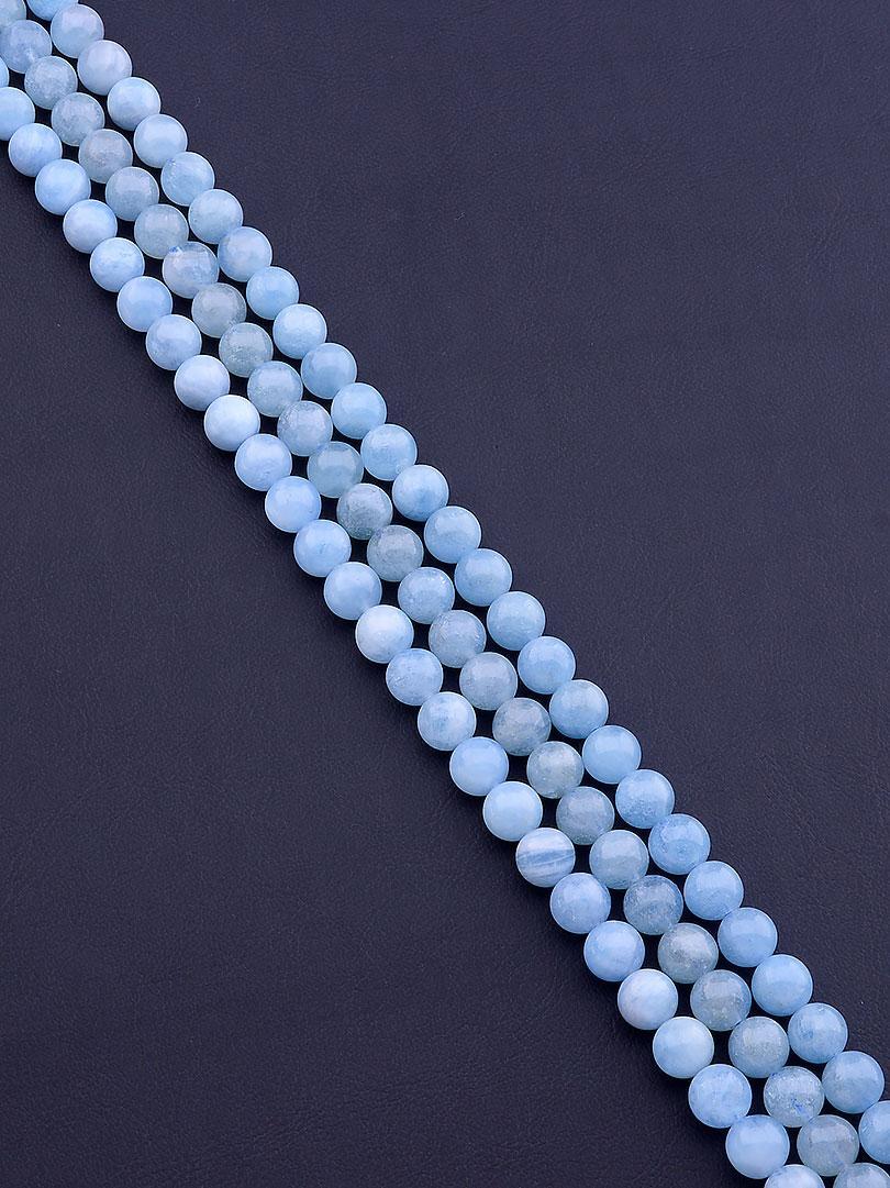 Заготовка для бус и браслетов нить из натурального камня Аквамарин 39 см 8 мм