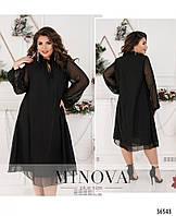 Платье женское нарядное свободного кроя шифон 48-58 размеров,цвет черный