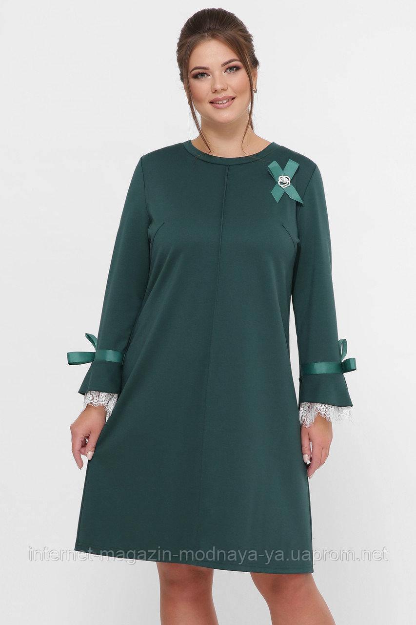 Женское нарядное платье с брошью Майя р. 52-58