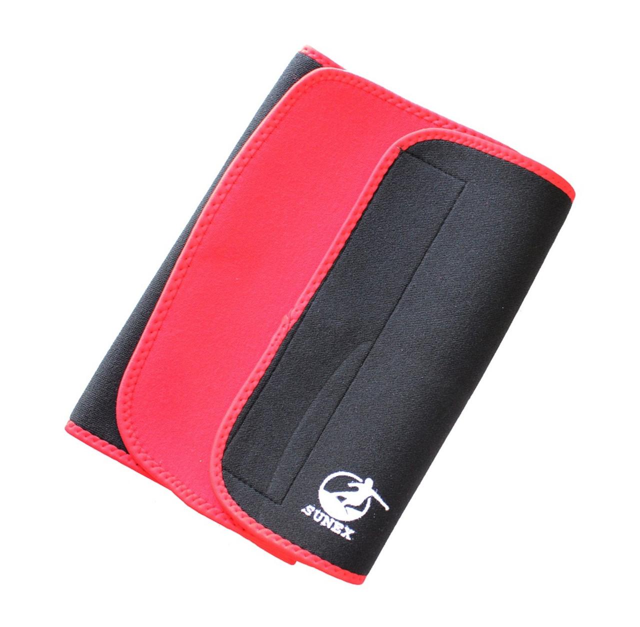 Пояс для похудения Sunex, 130*28*0.5 см, черный с красным