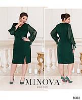 Платье женское красивое креп дайвинг шифон 52-60 размеров,цвет зеленый