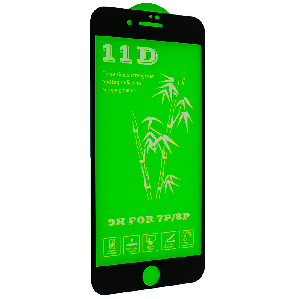 Защитное стекло Green 11D для iPhone 7 plus / 8 plus - черный
