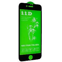 Защитное стекло Green 11D для iPhone 7 / 8 черный
