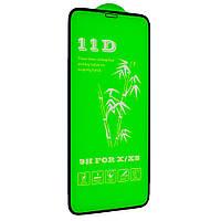Защитное стекло Green 11D для iPhone X / Xs черное