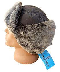 Шапка-ушанка зимняя серый мех Sky Fifh серая