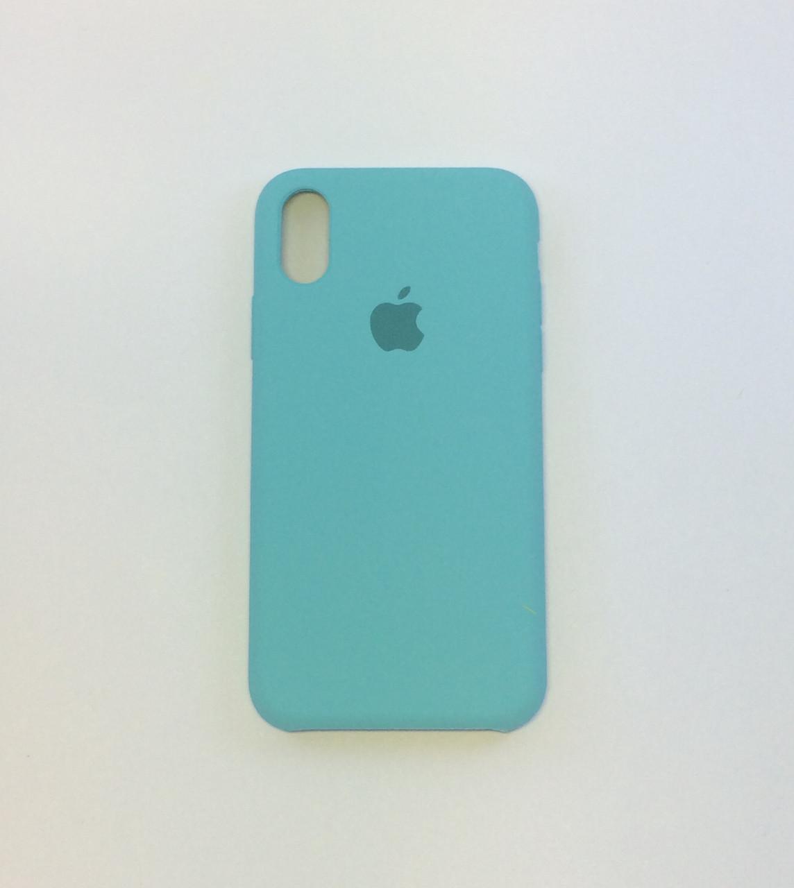 Силиконовый чехол iPhone X, зеленая лагуна, силикон, copy original