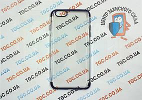 Чехол силиконовый с цветным контуром для iPhone 6/6s Plus - blue