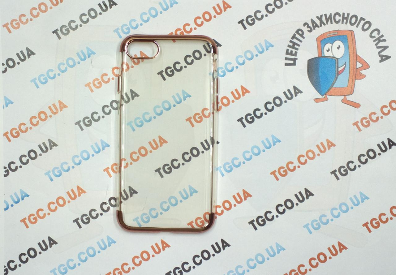 Чехол силиконовый с цветным контуром для iPhone 7 -rose gold
