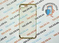 Чехол силиконовый с цветным контуром для iPhone 7 Plus -gold