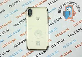 Чехол силиконовый с цветным контуром для iPhone X -silver