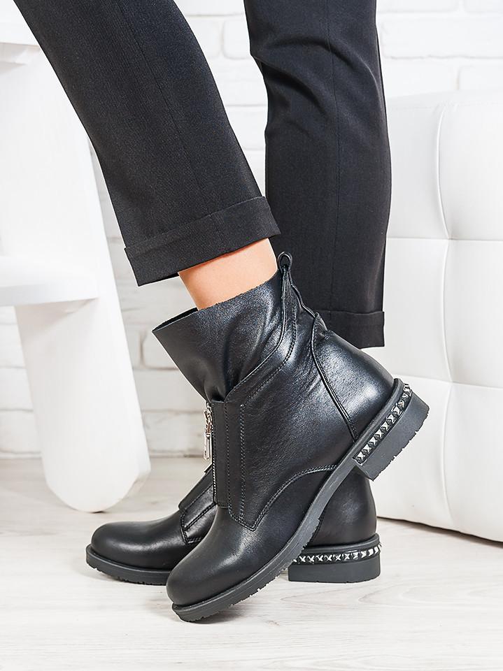Ботинки Oliver черная кожа 6698-28