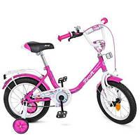 Велосипед детский PROF1 14д. Flower малиновый