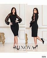Платье женское нарядное прямого кроя 50-62 размеров,цвет черный