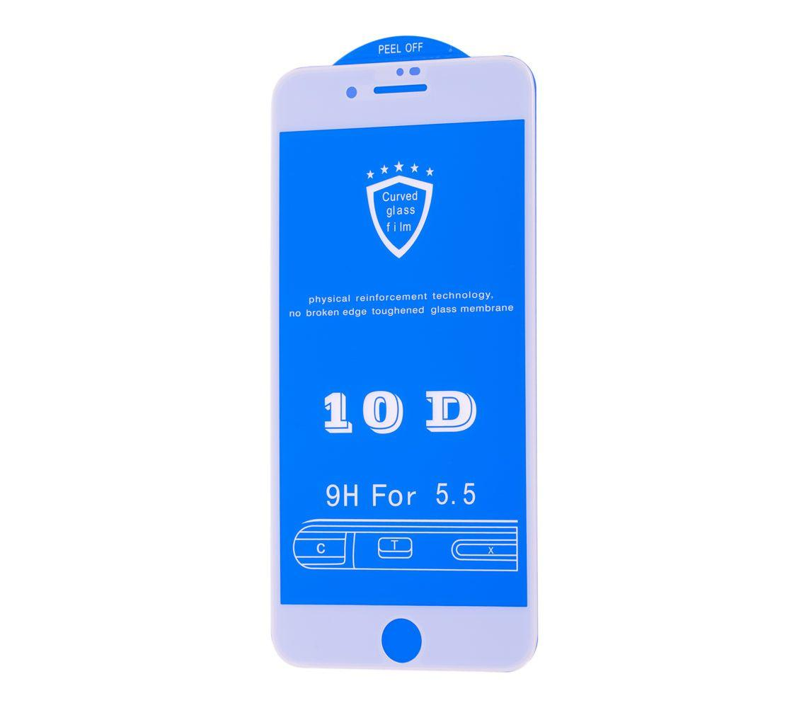 Защитное стекло 10D для iPhone 7 Plus / 8 Plus Белый