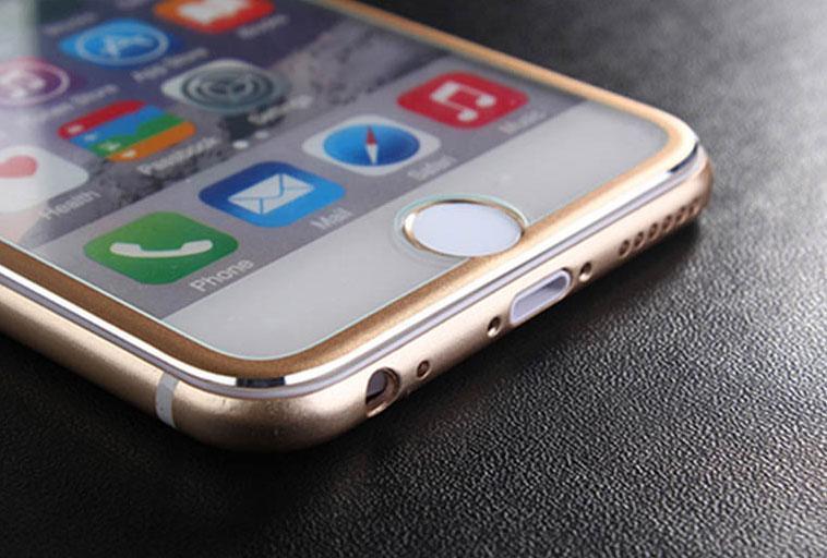 Защитное стекло Titan 3D для iPhone 8 Plus Gold с алюминиевой рамкой