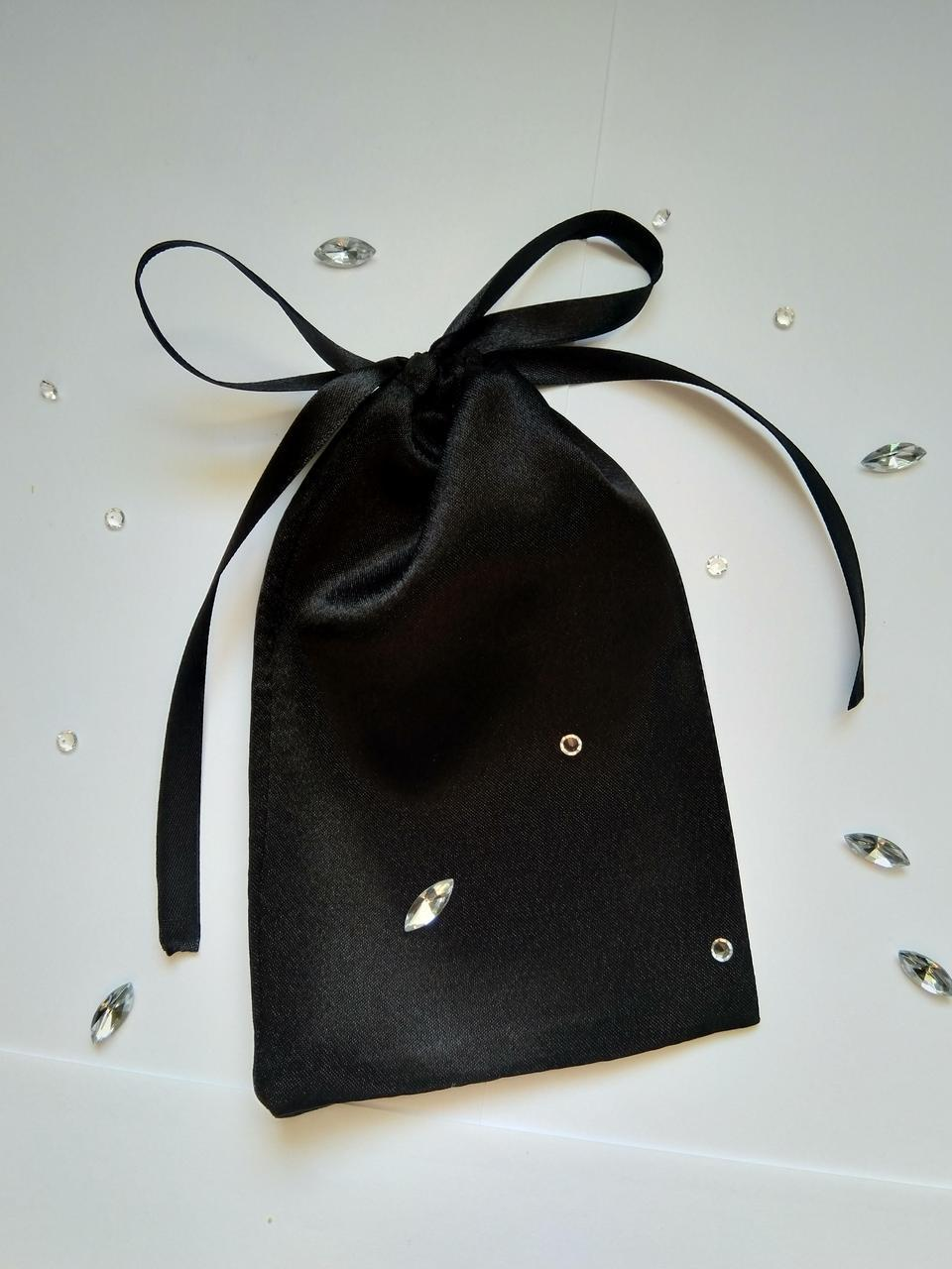 Мешочек для подарка из атласа 10 х 16 (Мешочек для упаковки подарка, подарочная упаковка) черный