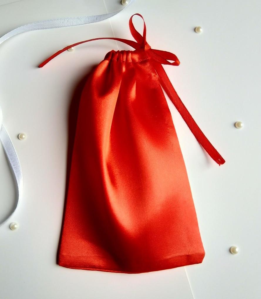 Атласный мешочек для подарка 10 х 16  (Мешочек для упаковки подарка, подарочная упаковка) красный