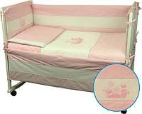 Защитное ограждение в кроватку Котята розовое Руно