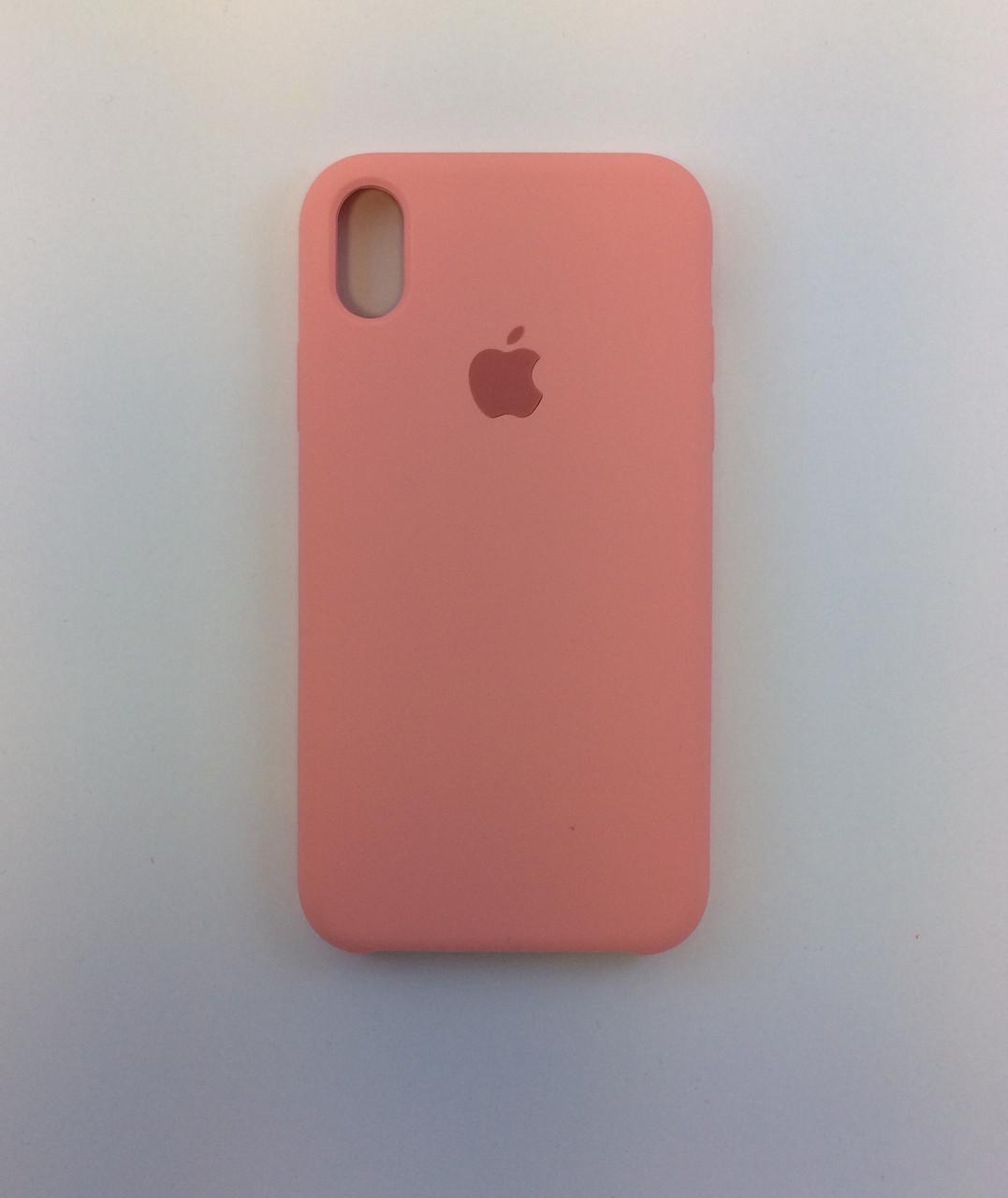 Силиконовый чехол iPhone X / Xs, нежно-розовый, copy original