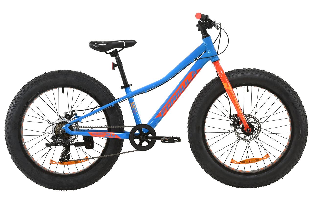 """Горный подростковый велосипед 24"""" Formula PALADIN DD 2020 (синий с красным и оранжевым)"""