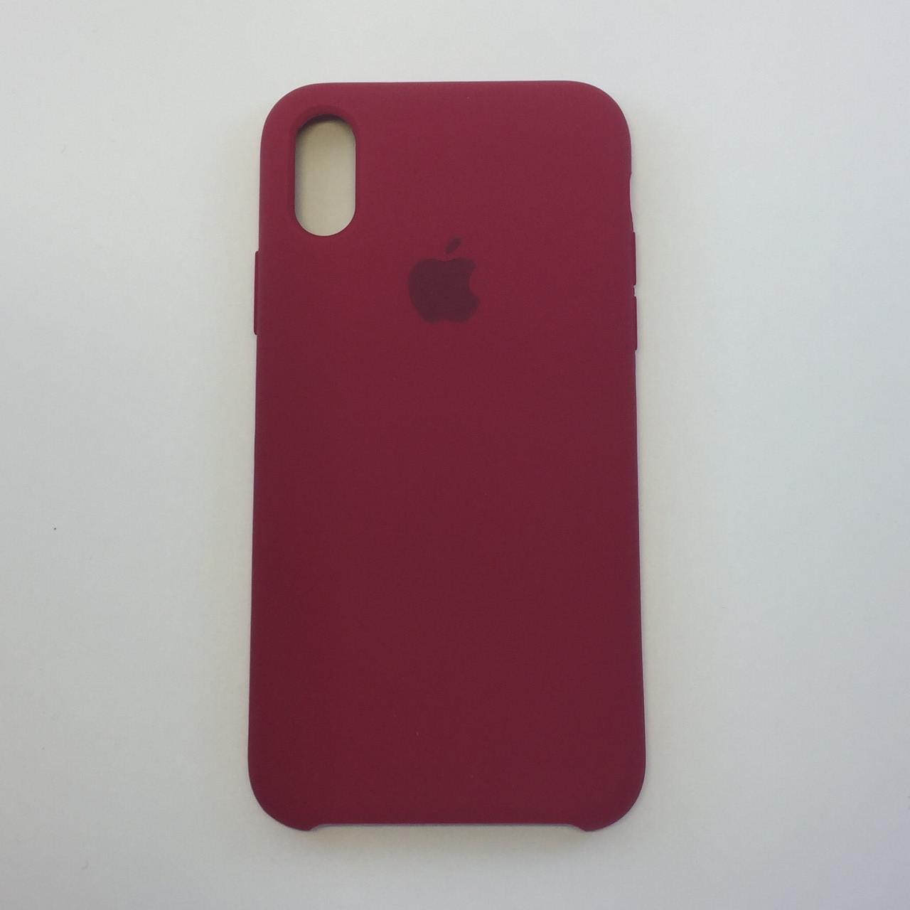 Силиконовый чехол iPhone X / Xs, темно-розовый, copy original