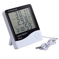 Цифровой термометр-гигрометр HTC-2, с часами, будильником и выносным датчиком