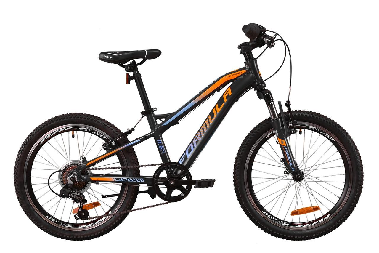 """Велосипед 20"""" Formula BLACKWOOD 1.0 2020 (серый с голубым и оранжевым (м))"""