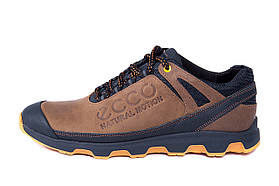 Мужские кожаные кроссовки Ecco Natural Motion olive (реплика)