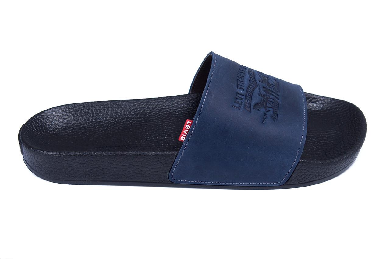 Мужские кожаные летние шлепанцы Levis blue (реплика)