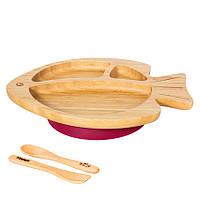 Секционная тарелка из бамбука на присоске, ложка и вилка Бабака, Сливовый - 146018