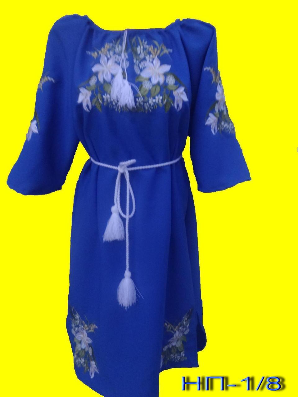 Платье синее женское с вышивкой Белые лилии. Вишита жіноча сукня. -  Интернет-магазин 0260b696eb146