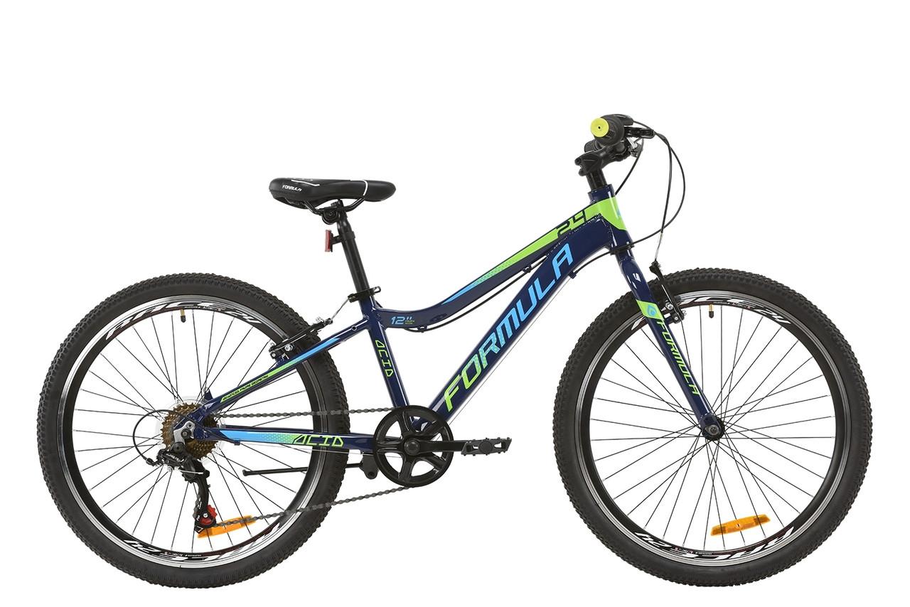 """Велосипед AL 24"""" Formula ACID 1.0 Vbr 2020 (индиго с салатовым и голубым)"""