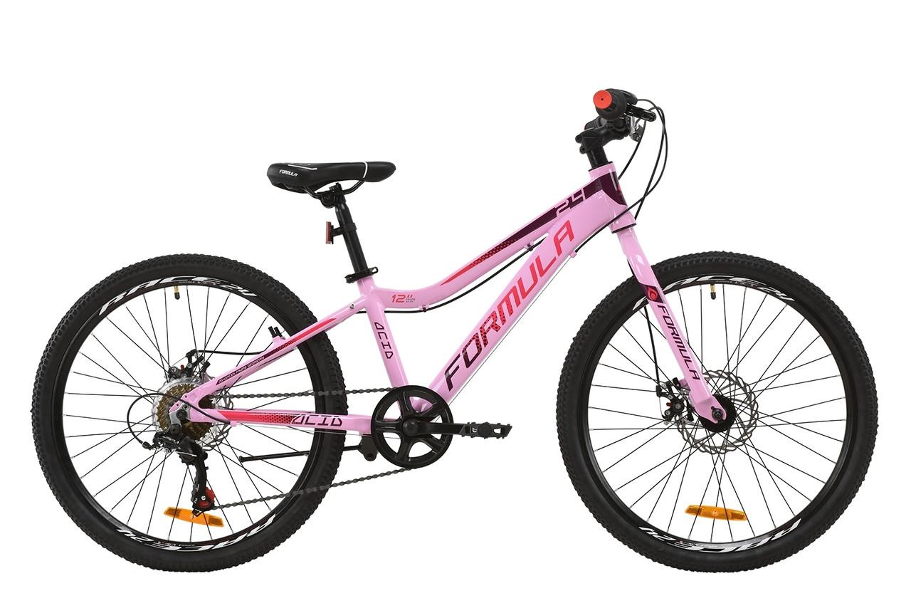 """Гірський підлітковий велосипед 24"""" Formula ACID DD 2020 (рожево-червоно-фіолетовий)"""